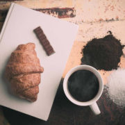 croissant, chocolate and coffee