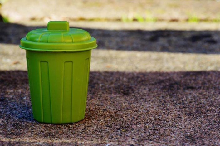 green bin on gravel