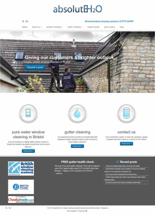 window cleaning home page website design screenshot
