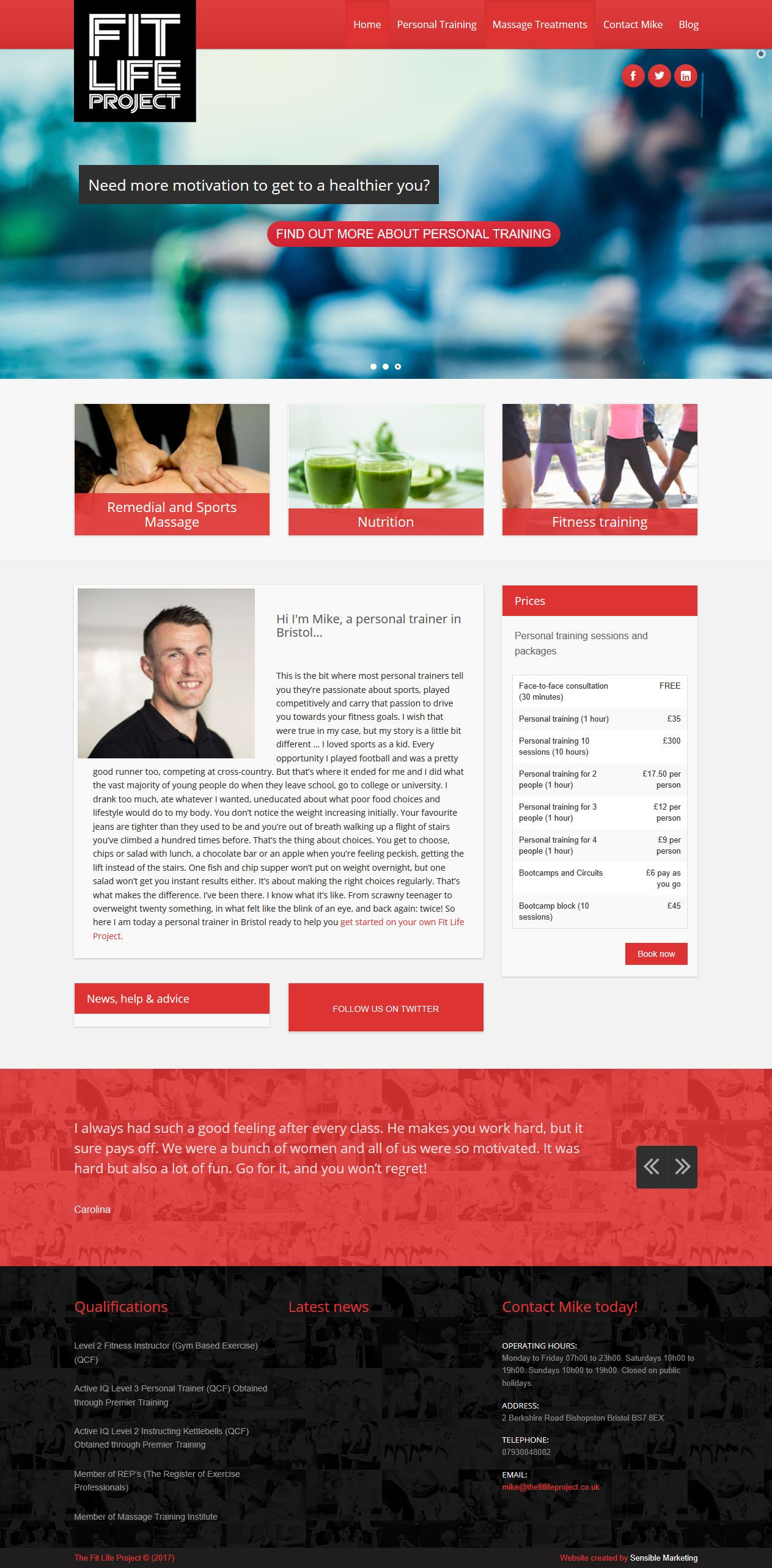 Screen shot of personal trainer website The Fit Life Project