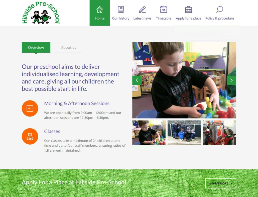 screen shot of hillside preschool home page web design