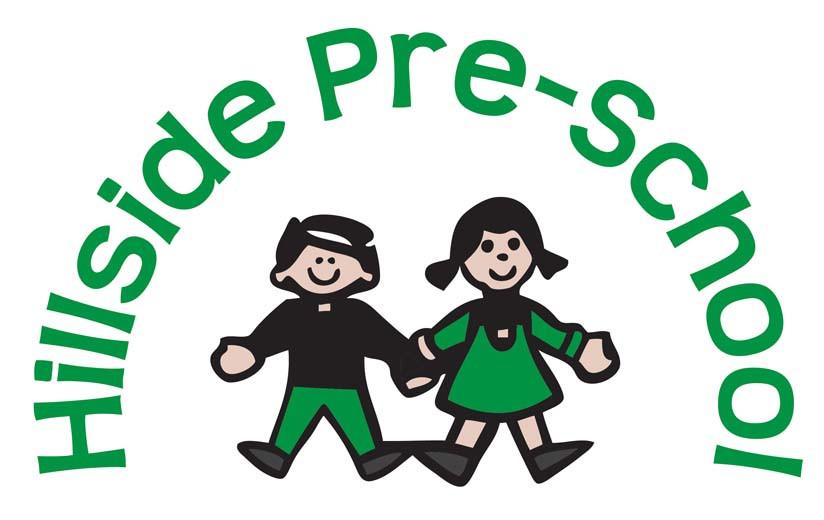 Hillside Preschool Bristol logo, green boy and girl holding hands