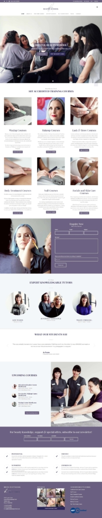 screen shot of the Bristol Beauty School website home page